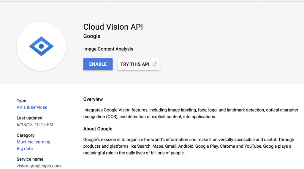 Cloud Vision API Search Result