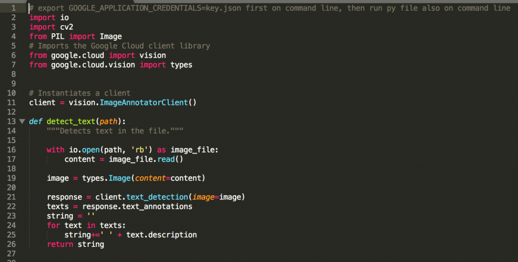 Vision API Code Displayed for OCR