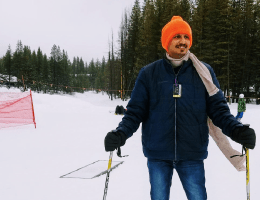 Ashish skiing