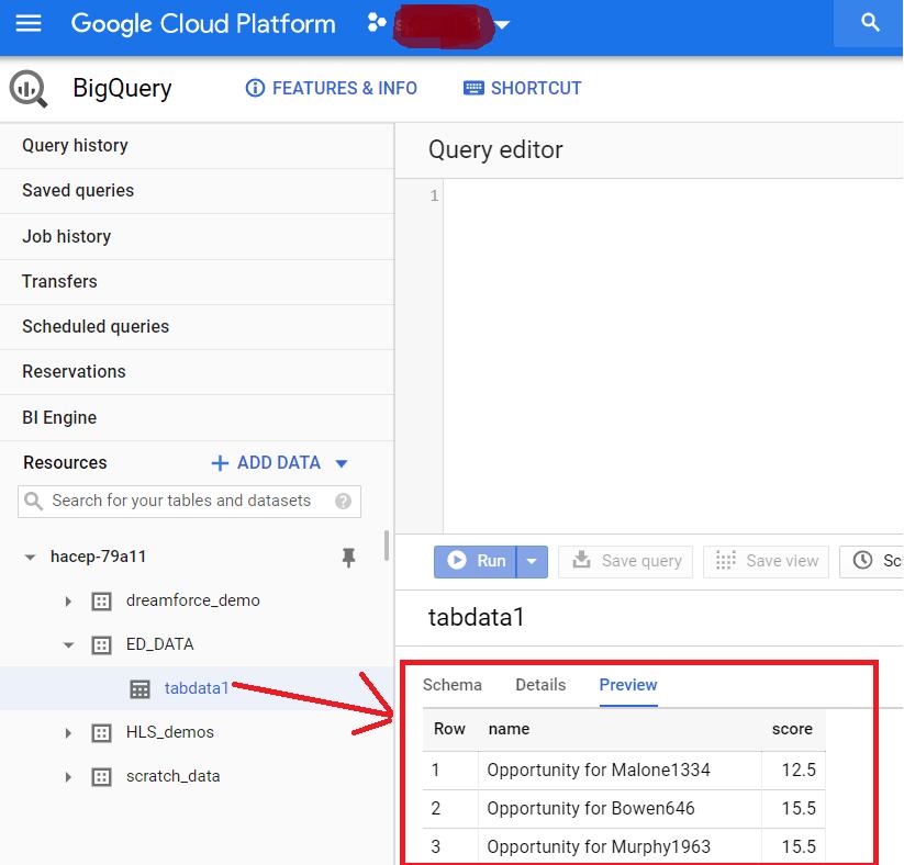 Database layer Google BigQuery