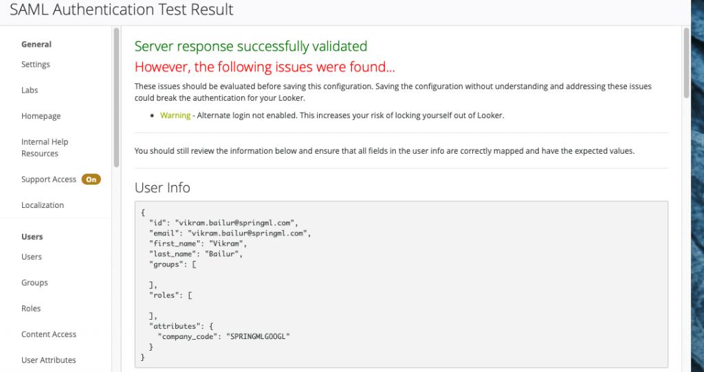 SAML Authentication Test Result